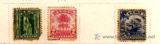 LOTE TRES SELLOS CUBA PRINCIPIO S.XX - VALOR FACIAL 1, 2 Y 5 CENTAVOS (Sellos - España - Colonias Españolas y Dependencias - América - Cuba)