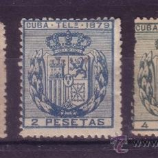Sellos: CUBA EDIFIL TELEGRAFOS 46/48* - AÑO 1879 - ESCUDO DE ESPAÑA. Lote 18642752