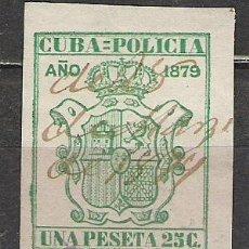 Sellos: 3374-SELLO CLASICO ESPAÑA DOMONIO EN CUBA SELLOS DE POLICIA.AÑO 1879 1,25 PESETAS ALTO VALOR. Lote 26910039