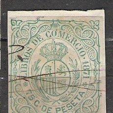 Sellos: 15-GRAN SELLO CLASICO 1871 75 CTS DOMINIO ESPAÑA EN ULTRAMAR FISCAL CUBA LIBROS COMERCIO . Lote 19494519