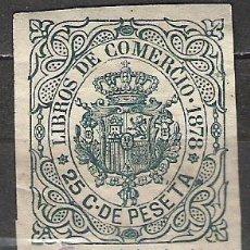 Sellos: 25-GRAN SELLO CLASICO 1878.25 CTS DOMINIO ESPAÑA EN ULTRAMAR FISCAL CUBA LIBROS COMERCIO . Lote 19494707