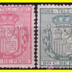 Sellos: CUBA TELÉGRAFOS 1881 ESCUDO DE ESPAÑA, EDIFIL Nº 53 Y 54 (*). Lote 19777050