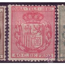 Sellos: CUBA TELÉGRAFOS 1881 ESCUDO DE ESPAÑA, EDIFIL Nº 52 A 54 * * / (*). Lote 23767019