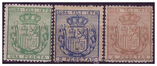 CUBA TELÉGRAFOS 1878 ESCUDO DE ESPAÑA, EDIFIL Nº 43 A 45 (*) (Sellos - España - Colonias Españolas y Dependencias - América - Otros)