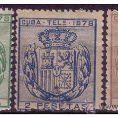 Sellos: CUBA TELÉGRAFOS 1878 ESCUDO DE ESPAÑA, EDIFIL Nº 43 A 45 (*). Lote 23767130