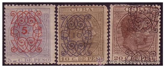 CUBA 1883 ALFONSO XII HABILITADOS, EDIFIL Nº 80 A 82 * (Sellos - España - Colonias Españolas y Dependencias - América - Cuba)