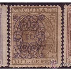 Sellos: CUBA 1883 ALFONSO XII HABILITADOS, EDIFIL Nº 80 A 82 *. Lote 23780475
