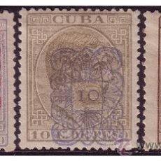 Sellos: CUBA 1883 ALFONSO XII HABILITADOS, EDIFIL Nº 74 A 76 *. Lote 23780750