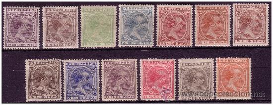 PUERTO RICO 1896 ALFONSO XIII EDIFIL Nº 115 A 128 SIN 121 * (Sellos - España - Colonias Españolas y Dependencias - América - Puerto Rico)