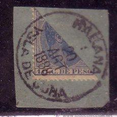 Timbres: CUBA .- Nº 103, ALFONSO XII DENTADO BISECTADO SOBRE FRAGMENTO MATASELLADO CON FECHADOR.. Lote 26498375