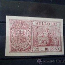 Sellos: CUBA,1898-99,POLIZA FISCAL,25 C. DE PESO,NUEVO CON GOMA Y SIN SEÑAL DE FIJASELLOS. Lote 26847517