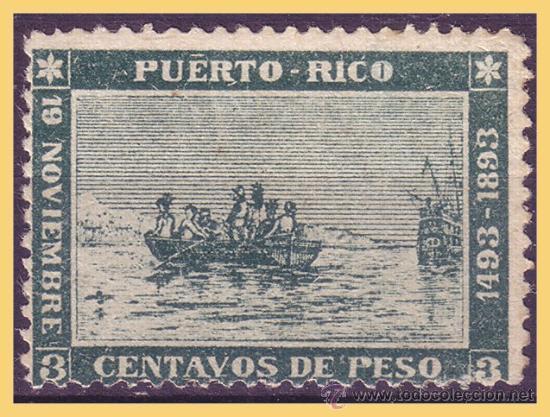 PUERTO RICO 1893 DESEMBARCO DE COLÓN EN MAYAGUEZ, EDIFIL Nº 101 * * (Sellos - España - Colonias Españolas y Dependencias - América - Puerto Rico)