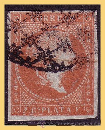 CUBA (ANTILLAS) 1855 ISABEL II, EDIFIL Nº 3IDA (O) FILIGRANA DESPLAZADA (Sellos - España - Colonias Españolas y Dependencias - América - Antillas)