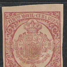 Sellos: 453-SELLO FISCAL GRAN FORMATO TIMBRE MOVIL CUBA COLONIA DE ESPAÑA.5 CENTAVOS AÑO 1893,CALIDAD . Lote 28645166