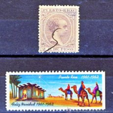 Sellos: PUERTO RICO.- PELON 2 C. DE PESO. PERFECTO.- Y NAVIDAD 1961-62.-. Lote 30445623