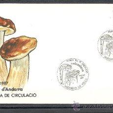 Sellos: ANDORRA 1987, ANFIL Nº 201, SETAS-NATURALEZA, PRIMER DIA DE CIRCULACION. Lote 34689771
