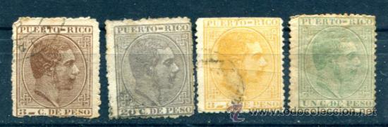 4 SELLOS DIFERENTES DE PUERTO RICO. AÑO 1882. TODOS CON DEFECTOS. (Sellos - España - Colonias Españolas y Dependencias - América - Puerto Rico)