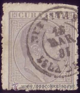 CUBA. (CAT. 65). 5 CTS. MAT. FECHADOR * NUEVITAS/ISLA DE CUBA *. MUY BONITO Y RARO. (Sellos - España - Colonias Españolas y Dependencias - América - Cuba)