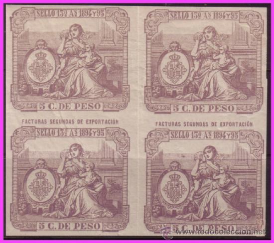 FISCALES, PUERTO RICO 1894 Y 95 SELLO 13º 5 CTS. DE PESO LILA * * B4 FACTURAS 2ª DE EXPORTACIÓN (Sellos - España - Colonias Españolas y Dependencias - América - Puerto Rico)