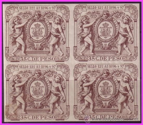 FISCALES CUBA 1896 Y 97 SELLO 12 º 35 C. DE PESO CASTAÑO OSCURO * * B4, LUJO (Sellos - España - Colonias Españolas y Dependencias - América - Puerto Rico)