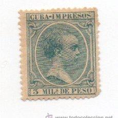 Sellos: ESPAÑA COLONIAS-CUBA 1896/97-EDIFIL 143- 3M. VERDE AZULADO. - NUEVO. Lote 38386156