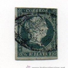 Sellos: ESPAÑA COLONIAS ANTILLAS- 1855- 1/2 REAL PLATA -EDIFIL 001 - AZUL VERD.- USADO-. Lote 38387874