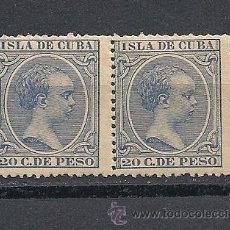 Sellos: CUBA 1891-92, EDIFIL Nº 129**, ALFONSO XIII, PAREJA. Lote 38799916