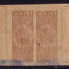 Sellos: CUBA. FISCAL. 1888. PAREJA DEL 1 PESO MARRÓN CON Nº DE CONTROL * PAGOS AL ESTADO *. MUY RARO.. Lote 24223654