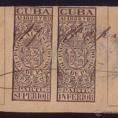 Sellos: CUBA. FISCAL. 1888. PAREJA DEL 10 C. NEGRO CON Nº DE CONTROL. MARCA DE LA HABANA AZUL. MUY RARO.. Lote 24223680