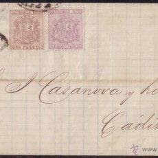 Sellos: CUBA.1875. CARTA DE LA HABANA A CÁDIZ. FRANQUEO TRICOLOR CON SERIE CASI COMPLETA. RARÍSIMO FRANQUEO.. Lote 22993246
