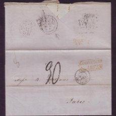 Sellos: CUBA. (CAT. PE. 59). 1855. CARTA DE LA HABANA A PARÍS. CIRCULADA POR DOS AGENCIAS POSTALES. RR... Lote 24492649