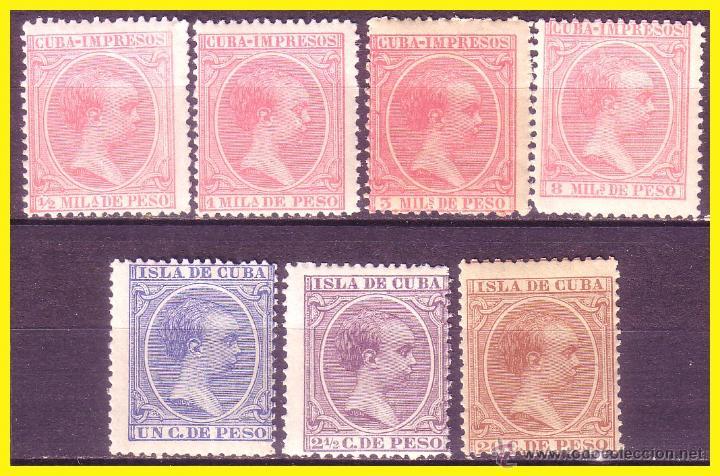 CUBA 1894 ALFONSO XIII, EDIFIL Nº 130, 131, 133, 135, 136, 138 Y 139 * * (Sellos - España - Colonias Españolas y Dependencias - América - Cuba)