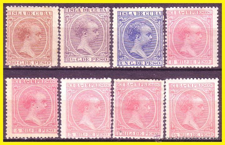 CUBA 1894 ALFONSO XIII, EDIFIL Nº 130 A 139 SIN 137 * (Sellos - España - Colonias Españolas y Dependencias - América - Cuba)