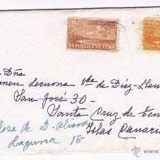 Sellos: LA HABANA - ISLAS CANARIAS 1950 - SOBRE Y CARTA. Lote 45577163