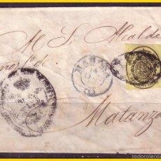 Sellos: CUBA 1858 CORREO OFICIAL, CUBIERTA EDIFIL Nº 6 (O) HAVANA A MATANZAS. Lote 58083805