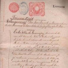 Sellos: L27-22 GUANAJAY (CUBA) ESCRITURA DE PODER GENERAL, CON SELLO FISCAL DEL COLEGIO NOTARIAL DE LA HABA. Lote 58228391