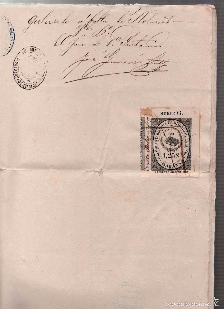 Sellos: L27-22 GUANAJAY (Cuba) Escritura de PODER GENERAL, con SELLO FISCAL DEL COLEGIO NOTARIAL de la Haba - Foto 2 - 58228391