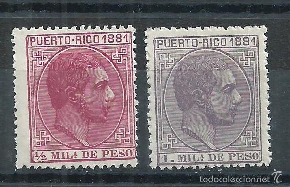 R7 / PUERTO RICO 1881, EDF. 42 CARMIN Y 43 VIOLETA, NUEVOS** S/F (Sellos - España - Colonias Españolas y Dependencias - América - Puerto Rico)