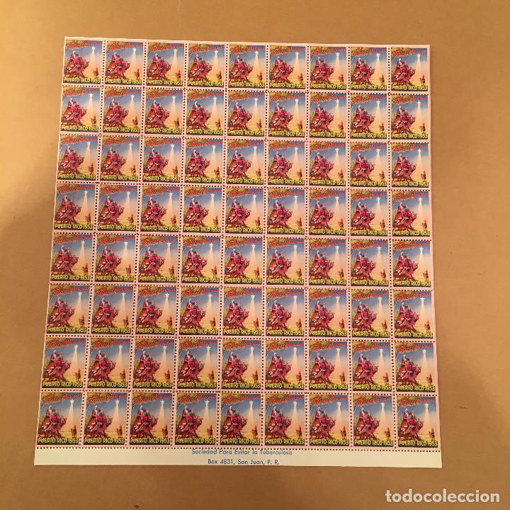 Sellos: PLANCHA COMPLETA - 72 SELLOS - SOCIEDAD PARA EVITAR LA TUBERCULOSIS - PUERTO RICO - NAVIDAD - 1953 - Foto 2 - 70426334