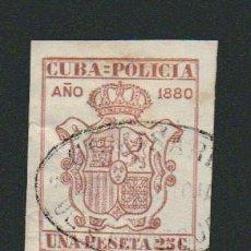 Sellos: CUBA.FISCAL.POLICIA.1880.UNA PESETA 25 C.. Lote 74894555