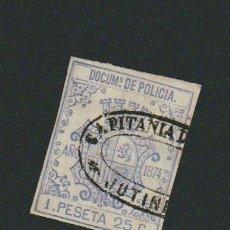 Sellos: CUBA.FISCAL.DOCUMENTO DE POLICIA.ÉPOCA I REPÚBLICA ESPAÑOLA.UNA PESETA 25 C.. Lote 74894679