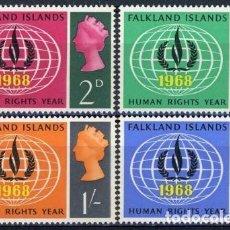 Sellos: FALKLAND 1968 IVERT 156/9 * AÑO INTERNACIONAL DE LOS DERECHOS HUMANOS. Lote 80754586