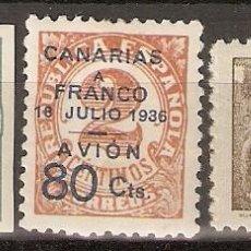 Sellos: CANARIAS 1937 EDIFIL 11/13* MLH. Lote 90087432