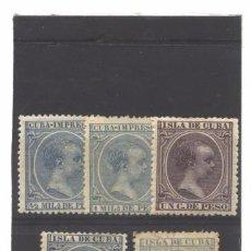 Selos: CUBA 1896-97 - EDIFIL NROS. 140-141-146-149-150 - ALFONSO XIII - SIN GOMA. Lote 95283803