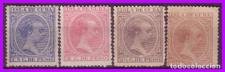 CUBA 1894 ALFONSO XIII, EDIFIL Nº 136 A 139 (*) (Sellos - España - Colonias Españolas y Dependencias - América - Cuba)