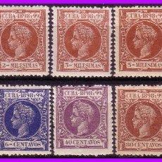 Sellos: CUBA 1898 ALFONSO XIII, EDIFIL Nº 154 A 156, 158, 160, 161, 164, 169, 171 Y 172 * *. Lote 95348875