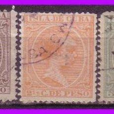 Sellos: CUBA 1891 ALFONSO XIII, EDIFIL Nº 124 A 128 (O). Lote 95349075