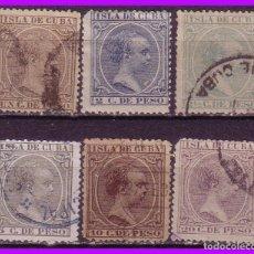 Sellos: CUBA 1890 ALFONSO XIII, EDIFIL Nº 112 A 117 (O). Lote 95349163