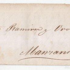 Sellos: CARTA ENTERA DE HABANA A MANZANILLO. 1859. CUBA. SELLO DE 1/2 REAL DE PLATA VERDE.. Lote 99855783