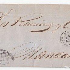 Sellos: CARTA ENTERA DE BAYAMO. CUBA A MANZANILLO. FECHADOR Y PARRILLA COLONIAL. 1862. Lote 100398763